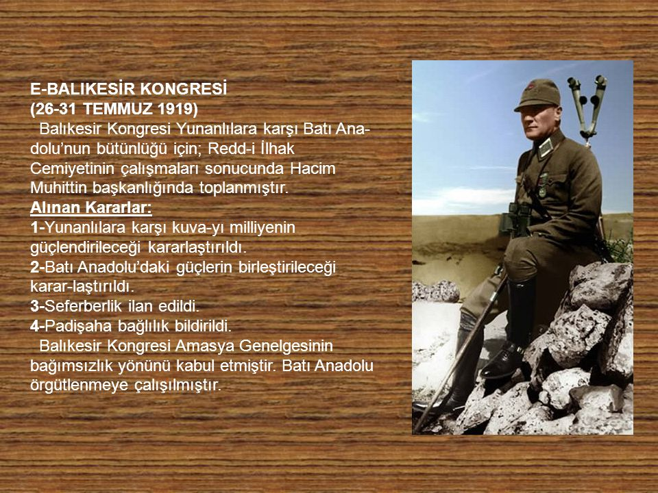 E-BALIKESİR KONGRESİ (26-31 TEMMUZ 1919)