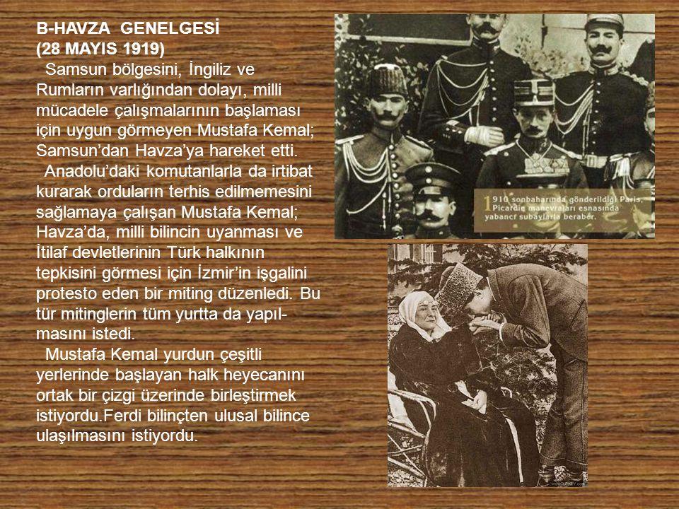 B-HAVZA GENELGESİ (28 MAYIS 1919)