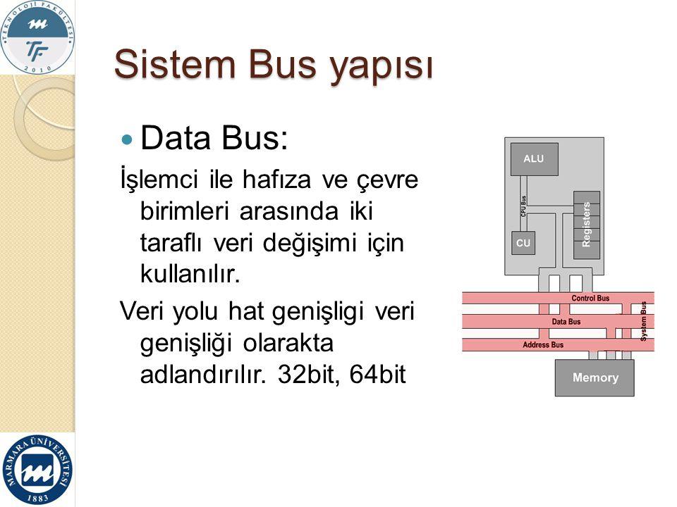 Sistem Bus yapısı Data Bus:
