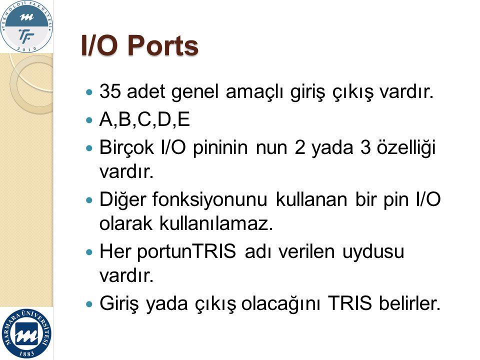 I/O Ports 35 adet genel amaçlı giriş çıkış vardır. A,B,C,D,E