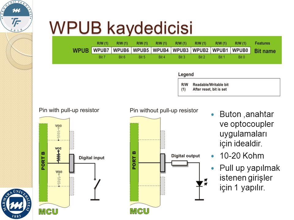 WPUB kaydedicisi Buton ,anahtar ve optocoupler uygulamaları için idealdir.