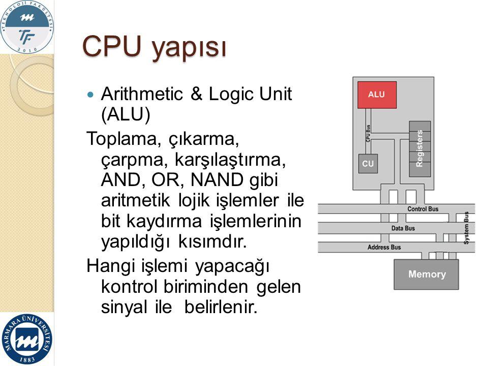 CPU yapısı Arithmetic & Logic Unit (ALU)