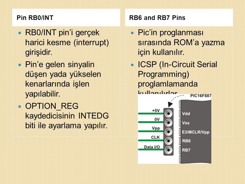 RB0/INT pin'i gerçek harici kesme (interrupt) girişidir.