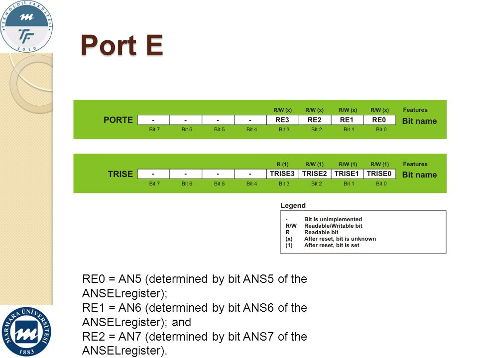 Port E RE0 = AN5 (determined by bit ANS5 of the ANSELregister);