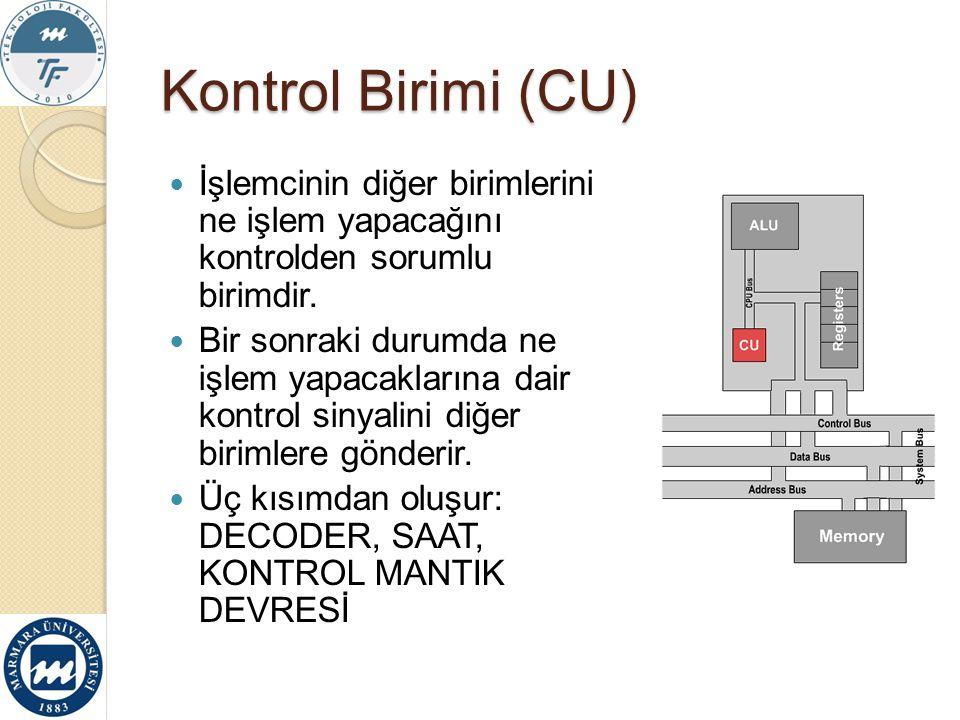 Kontrol Birimi (CU) İşlemcinin diğer birimlerini ne işlem yapacağını kontrolden sorumlu birimdir.