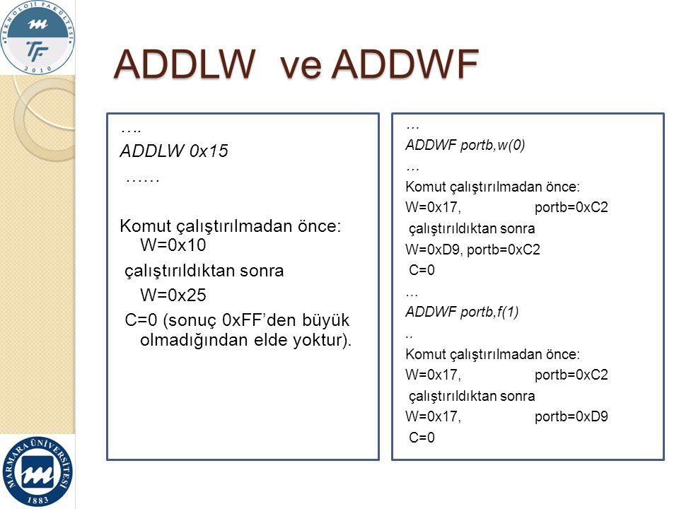 ADDLW ve ADDWF