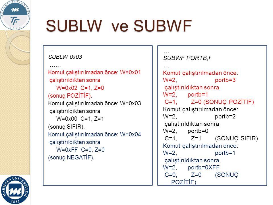 SUBLW ve SUBWF