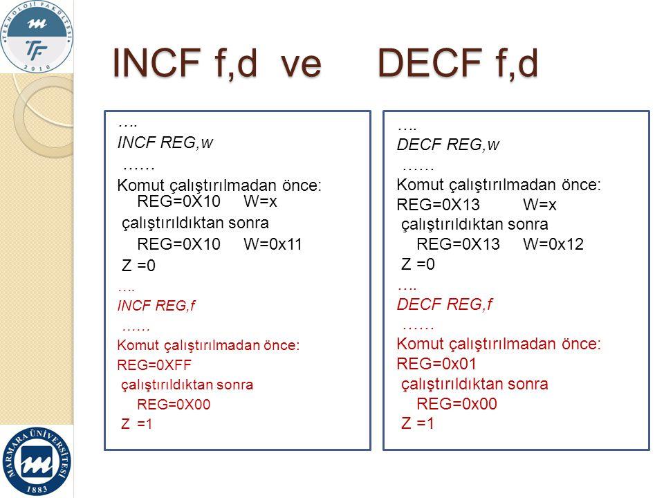 INCF f,d ve DECF f,d …. INCF REG,w ……