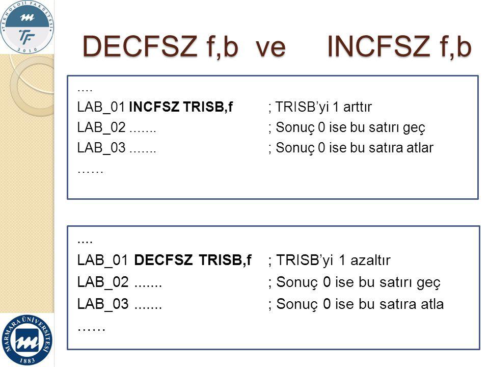 DECFSZ f,b ve INCFSZ f,b