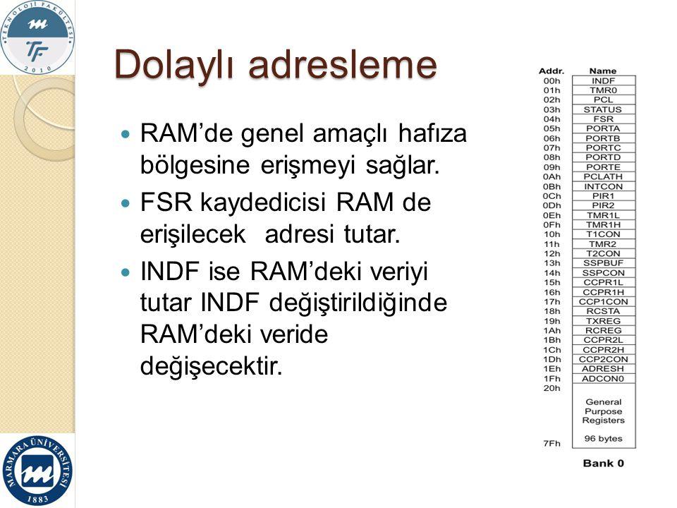 Dolaylı adresleme RAM'de genel amaçlı hafıza bölgesine erişmeyi sağlar. FSR kaydedicisi RAM de erişilecek adresi tutar.