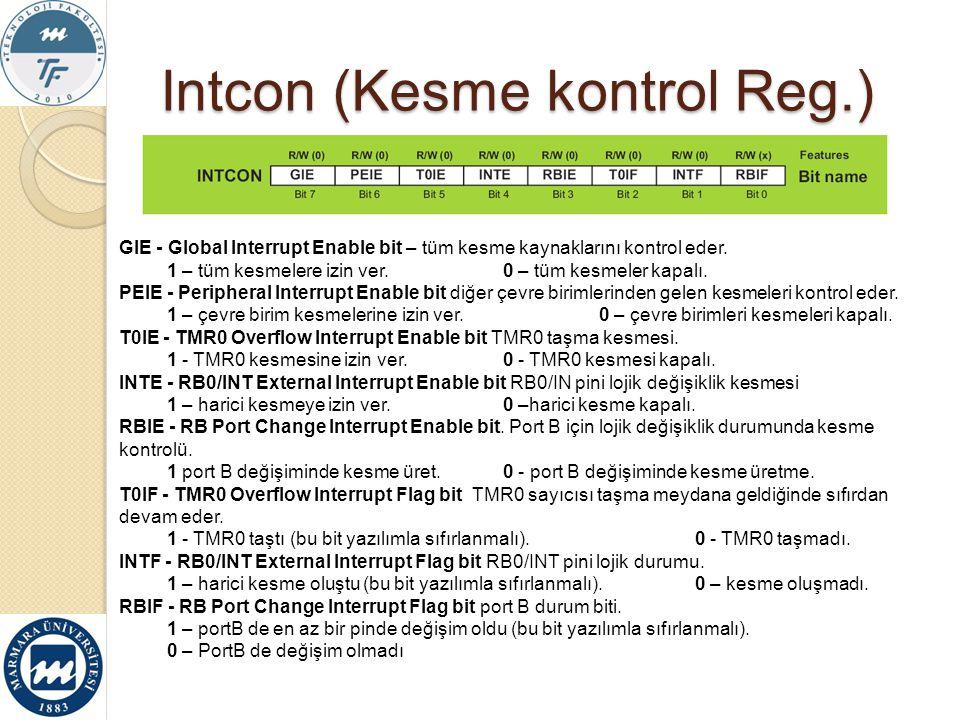 Intcon (Kesme kontrol Reg.)