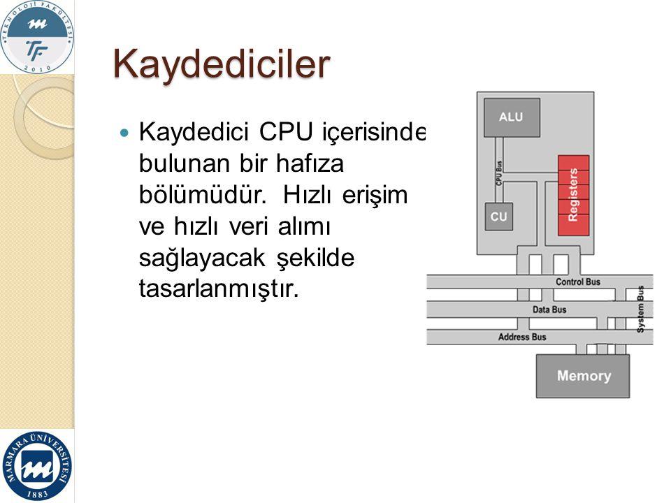 Kaydediciler Kaydedici CPU içerisinde bulunan bir hafıza bölümüdür.
