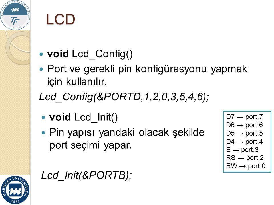 LCD void Lcd_Config() Port ve gerekli pin konfigürasyonu yapmak için kullanılır. Lcd_Config(&PORTD,1,2,0,3,5,4,6);