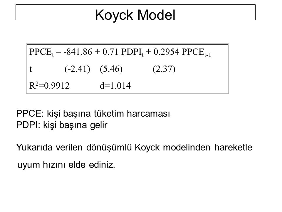 Koyck Model PPCEt = -841.86 + 0.71 PDPIt + 0.2954 PPCEt-1