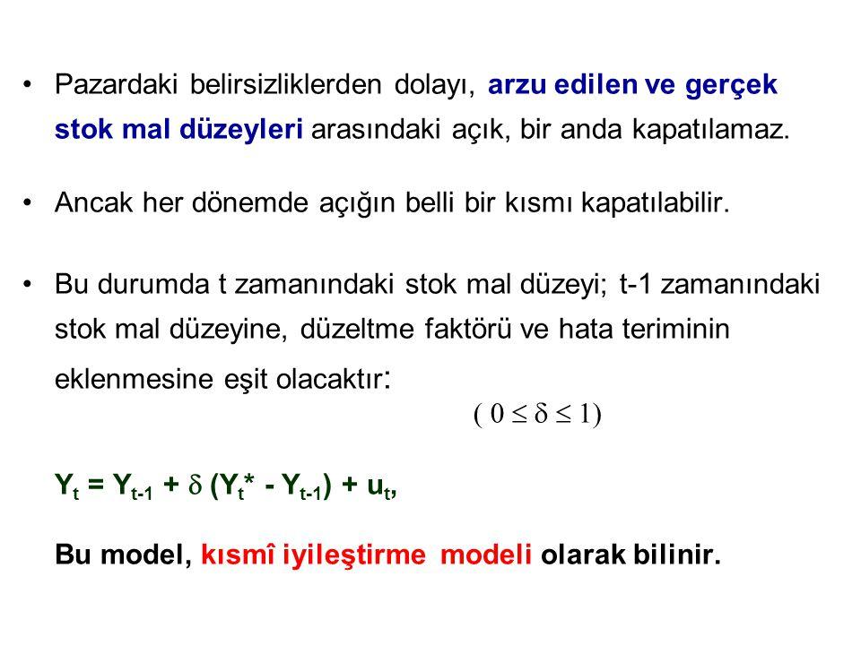 Yt = Yt-1 +  (Yt* - Yt-1) + ut,