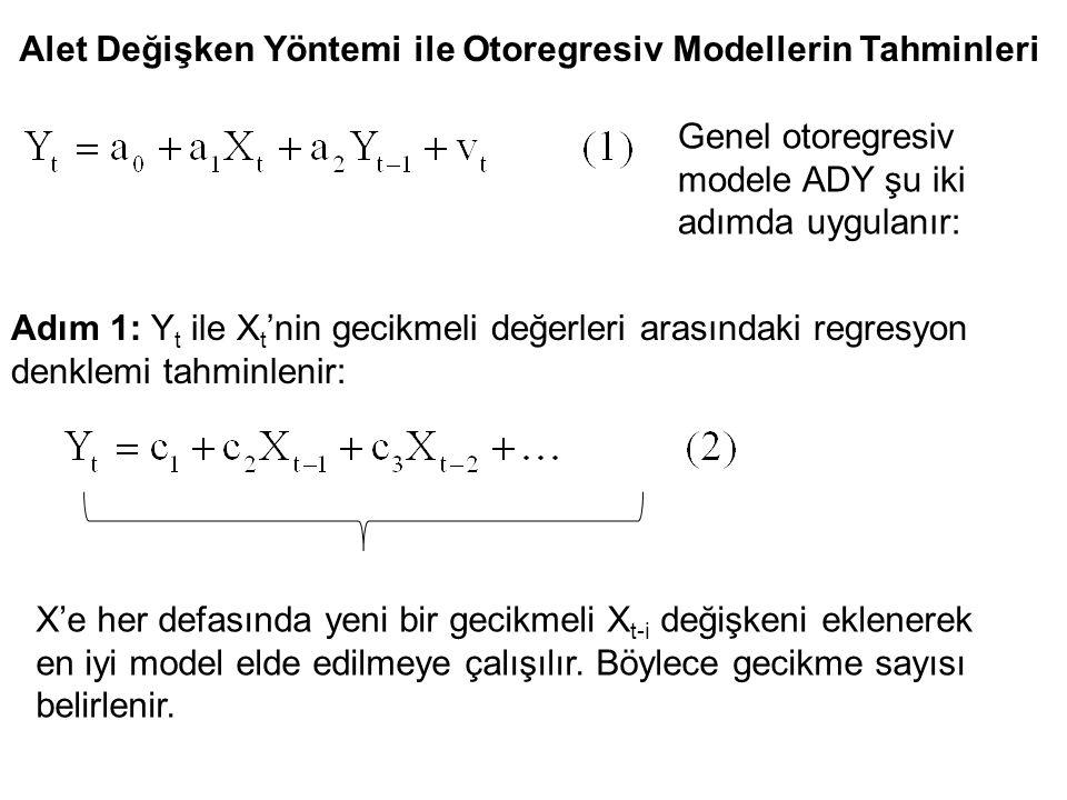 Alet Değişken Yöntemi ile Otoregresiv Modellerin Tahminleri