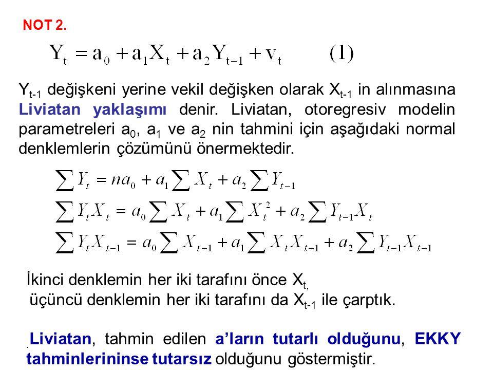 İkinci denklemin her iki tarafını önce Xt,