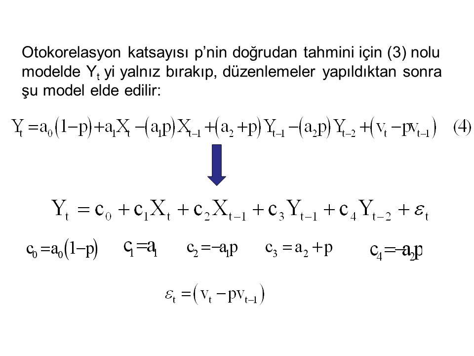 Otokorelasyon katsayısı p'nin doğrudan tahmini için (3) nolu modelde Yt yi yalnız bırakıp, düzenlemeler yapıldıktan sonra şu model elde edilir: