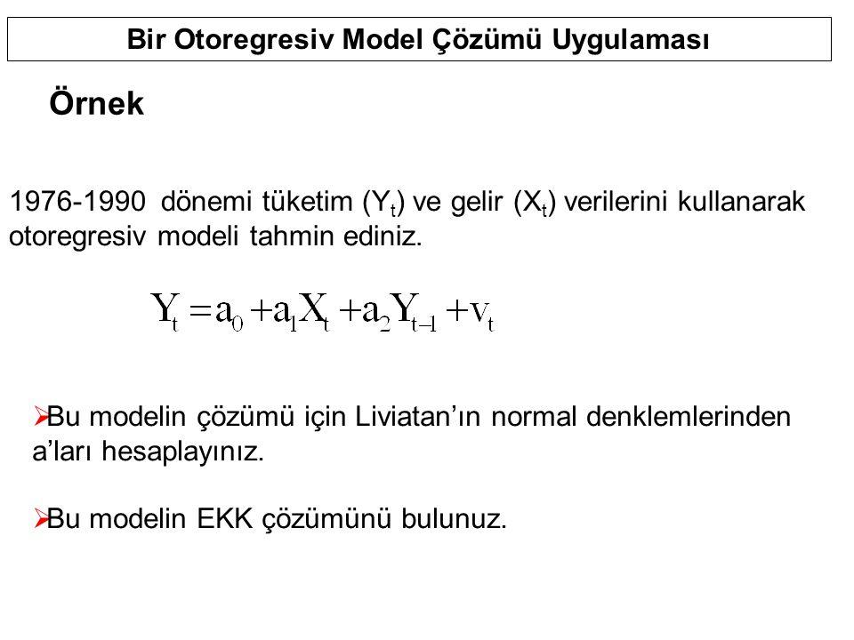 Bir Otoregresiv Model Çözümü Uygulaması