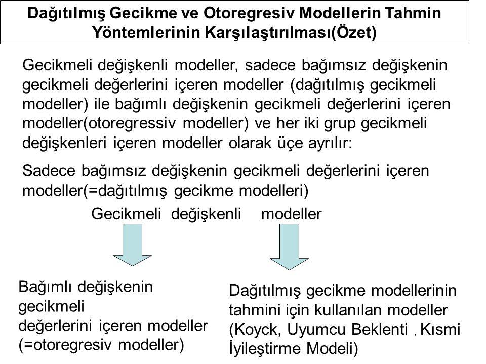 Dağıtılmış Gecikme ve Otoregresiv Modellerin Tahmin