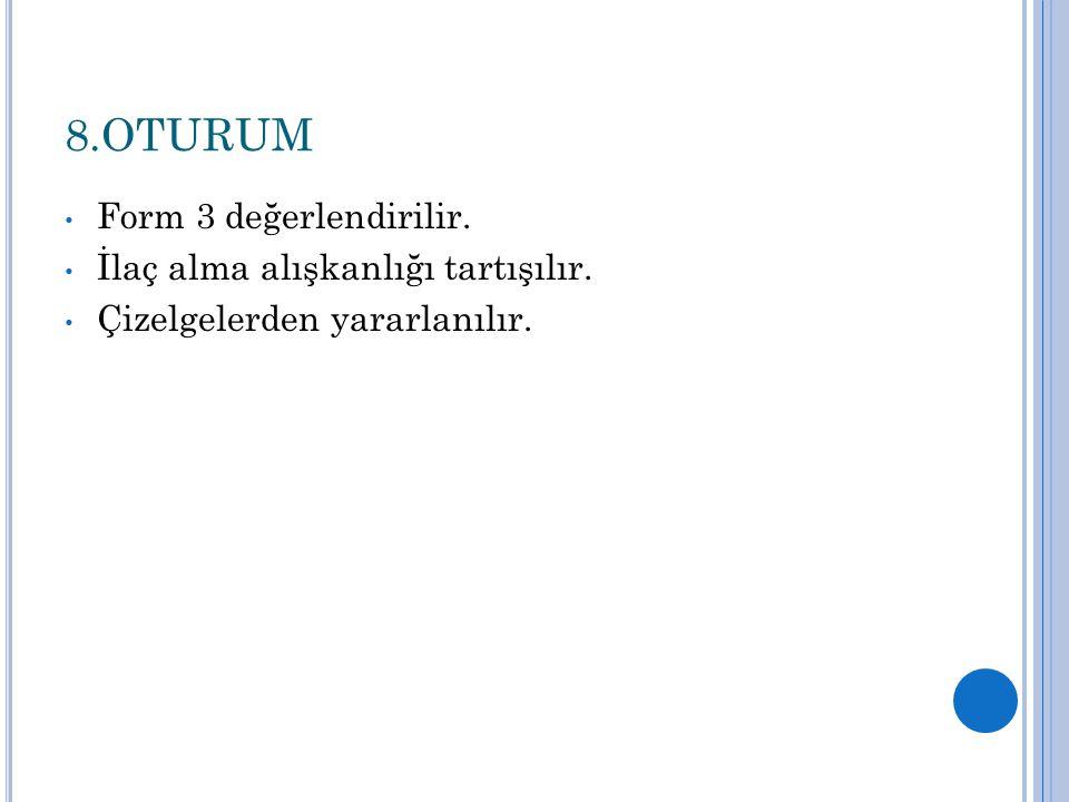 8.OTURUM Form 3 değerlendirilir. İlaç alma alışkanlığı tartışılır.