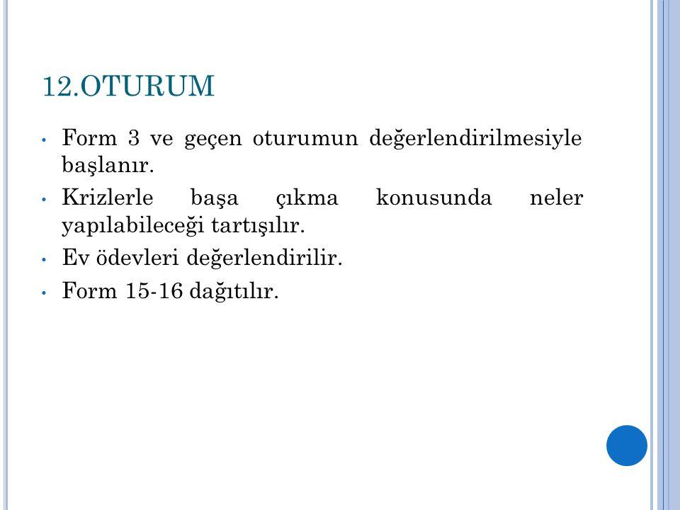 12.OTURUM Form 3 ve geçen oturumun değerlendirilmesiyle başlanır.