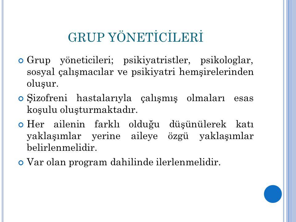 GRUP YÖNETİCİLERİ Grup yöneticileri; psikiyatristler, psikologlar, sosyal çalışmacılar ve psikiyatri hemşirelerinden oluşur.