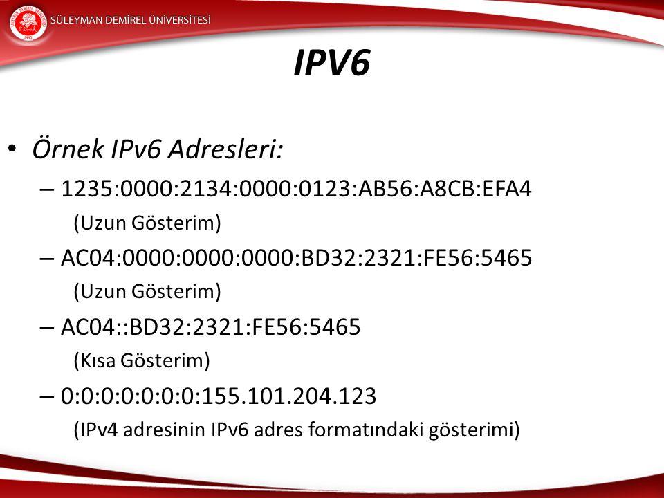IPV6 Örnek IPv6 Adresleri: 1235:0000:2134:0000:0123:AB56:A8CB:EFA4