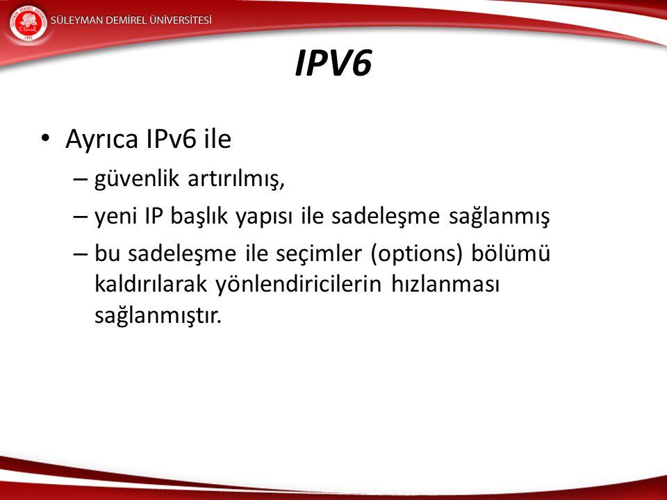 IPV6 Ayrıca IPv6 ile güvenlik artırılmış,