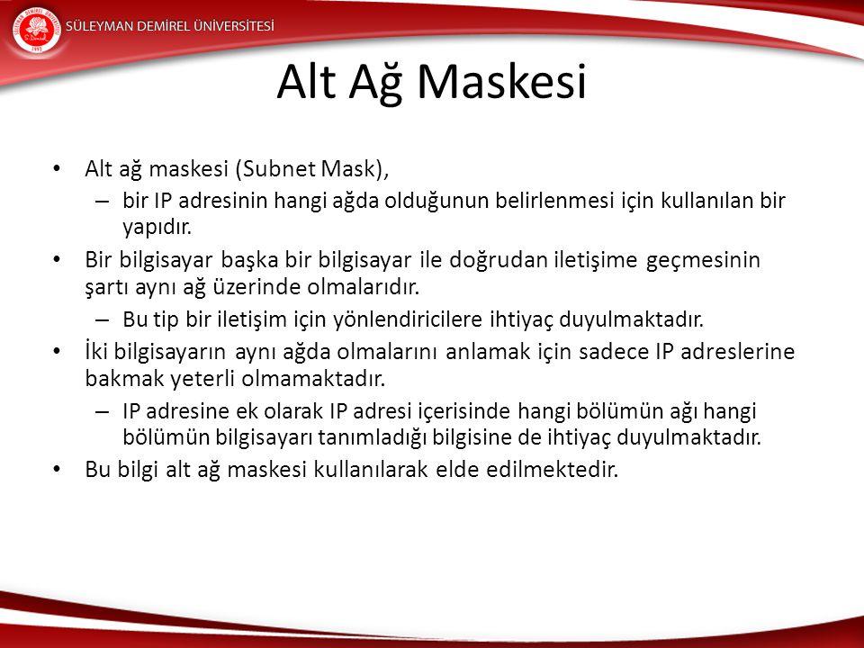 Alt Ağ Maskesi Alt ağ maskesi (Subnet Mask),