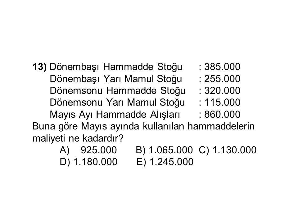 13) Dönembaşı Hammadde Stoğu. : 385. 000. Dönembaşı Yarı Mamul Stoğu