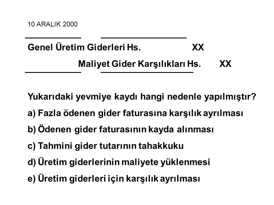 Genel Üretim Giderleri Hs. XX Maliyet Gider Karşılıkları Hs. XX