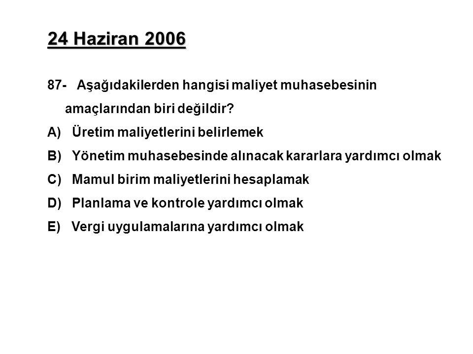24 Haziran 2006 87- Aşağıdakilerden hangisi maliyet muhasebesinin amaçlarından biri değildir A) Üretim maliyetlerini belirlemek.