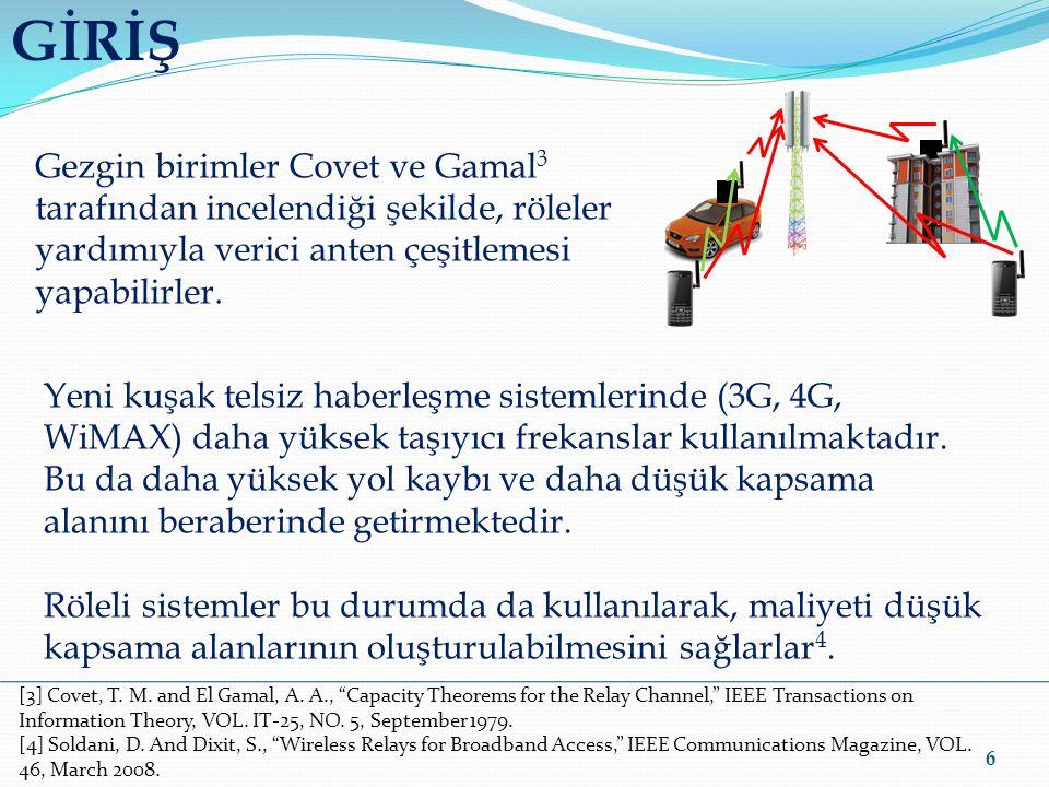 GİRİŞ Gezgin birimler Covet ve Gamal3 tarafından incelendiği şekilde, röleler. yardımıyla verici anten çeşitlemesi yapabilirler.