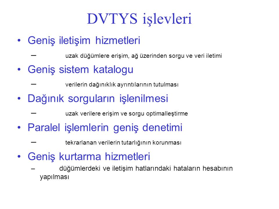 DVTYS işlevleri Geniş iletişim hizmetleri Geniş sistem katalogu
