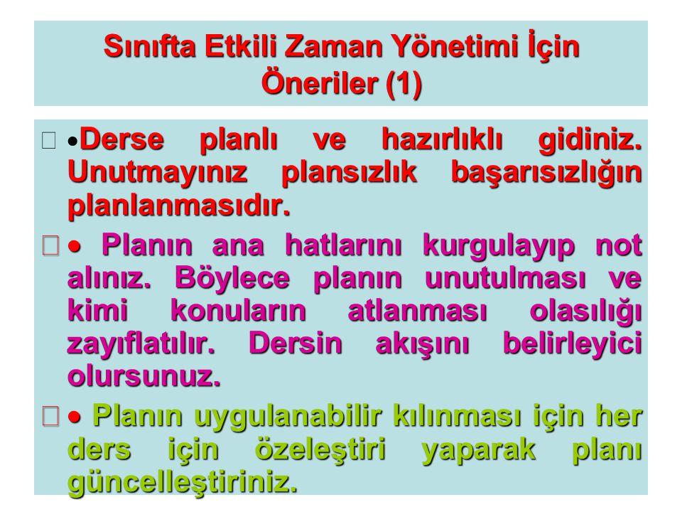 Sınıfta Etkili Zaman Yönetimi İçin Öneriler (1)