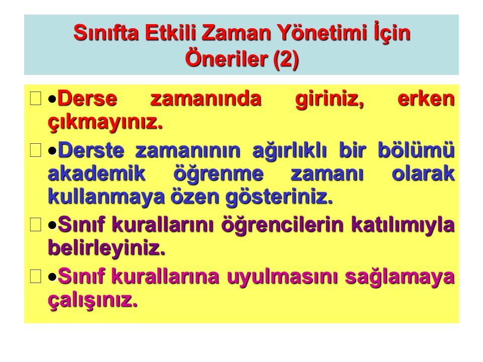 Sınıfta Etkili Zaman Yönetimi İçin Öneriler (2)