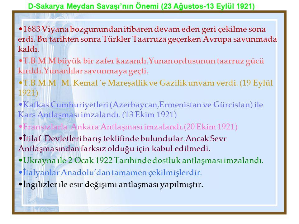 Fransızlarla Ankara Antlaşması imzalandı.(20 Ekim 1921)