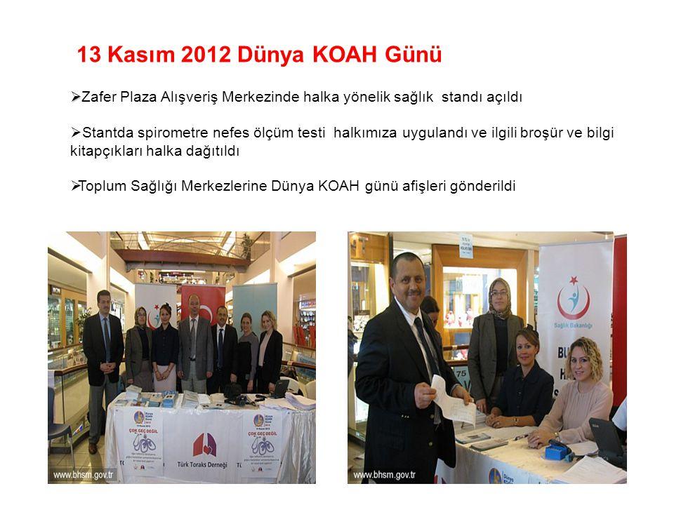 13 Kasım 2012 Dünya KOAH Günü Zafer Plaza Alışveriş Merkezinde halka yönelik sağlık standı açıldı.
