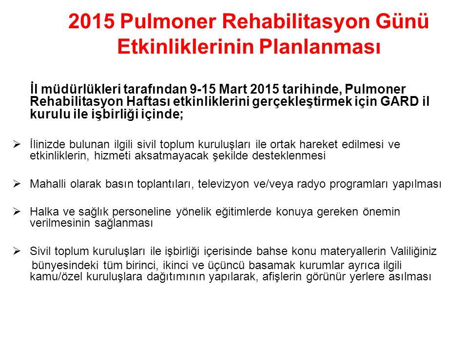 2015 Pulmoner Rehabilitasyon Günü Etkinliklerinin Planlanması