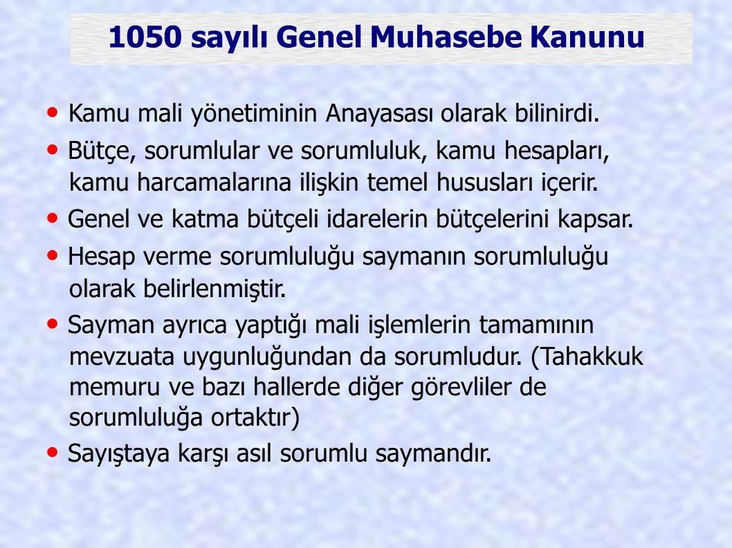 1050 sayılı Genel Muhasebe Kanunu
