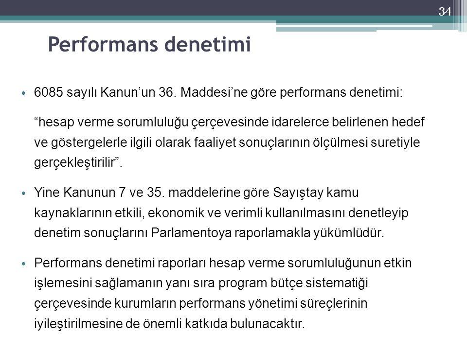 Performans denetimi 6085 sayılı Kanun'un 36. Maddesi'ne göre performans denetimi: