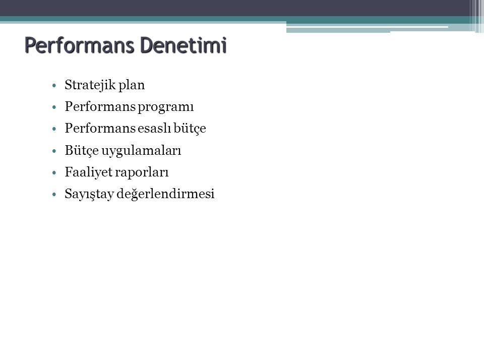 Performans Denetimi Stratejik plan Performans programı