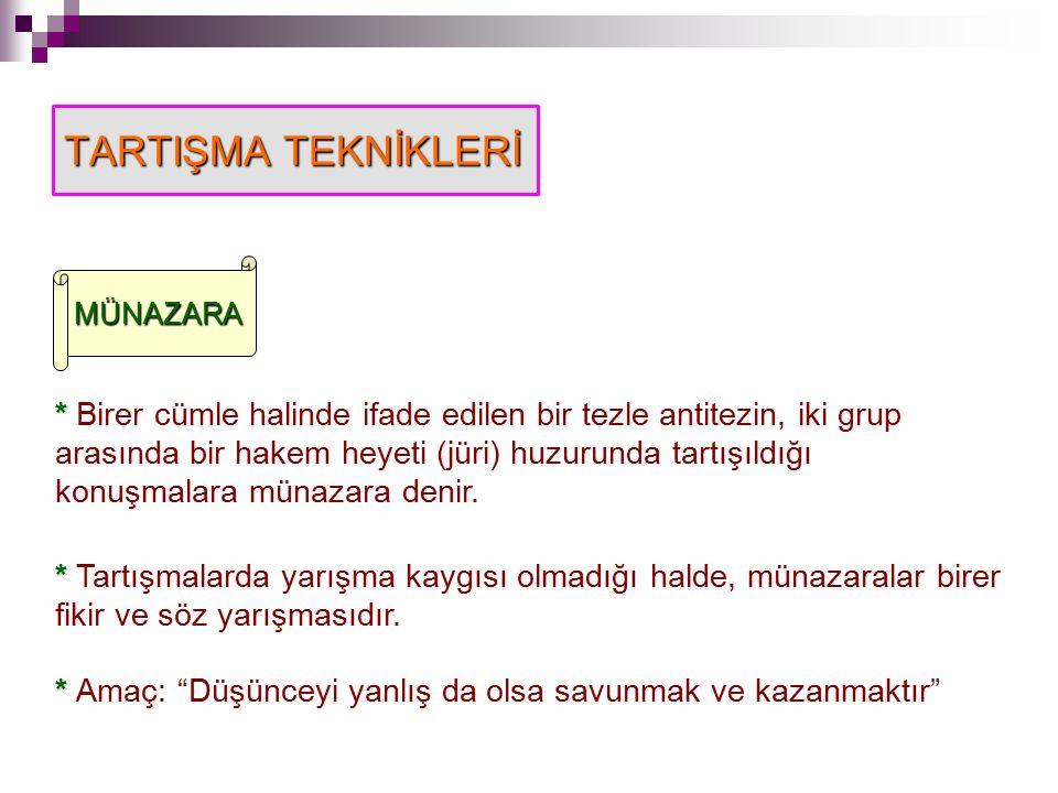 TARTIŞMA TEKNİKLERİ MÜNAZARA.