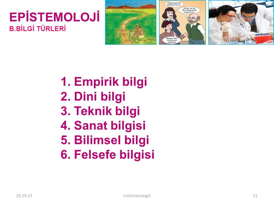EPİSTEMOLOJİ 1. Empirik bilgi 2. Dini bilgi 3. Teknik bilgi