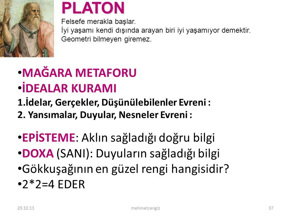 PLATON MAĞARA METAFORU İDEALAR KURAMI
