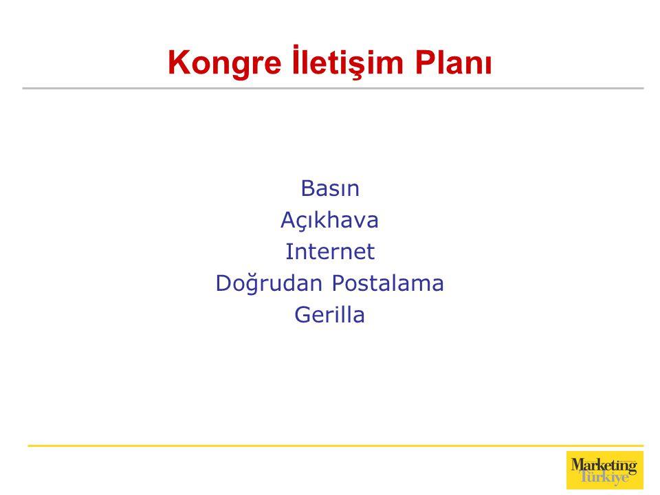 Kongre İletişim Planı Basın Açıkhava Internet Doğrudan Postalama