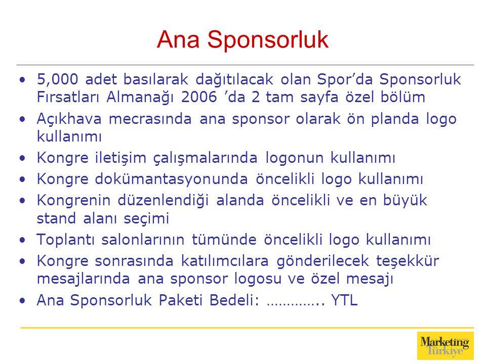 Ana Sponsorluk 5,000 adet basılarak dağıtılacak olan Spor'da Sponsorluk Fırsatları Almanağı 2006 'da 2 tam sayfa özel bölüm.