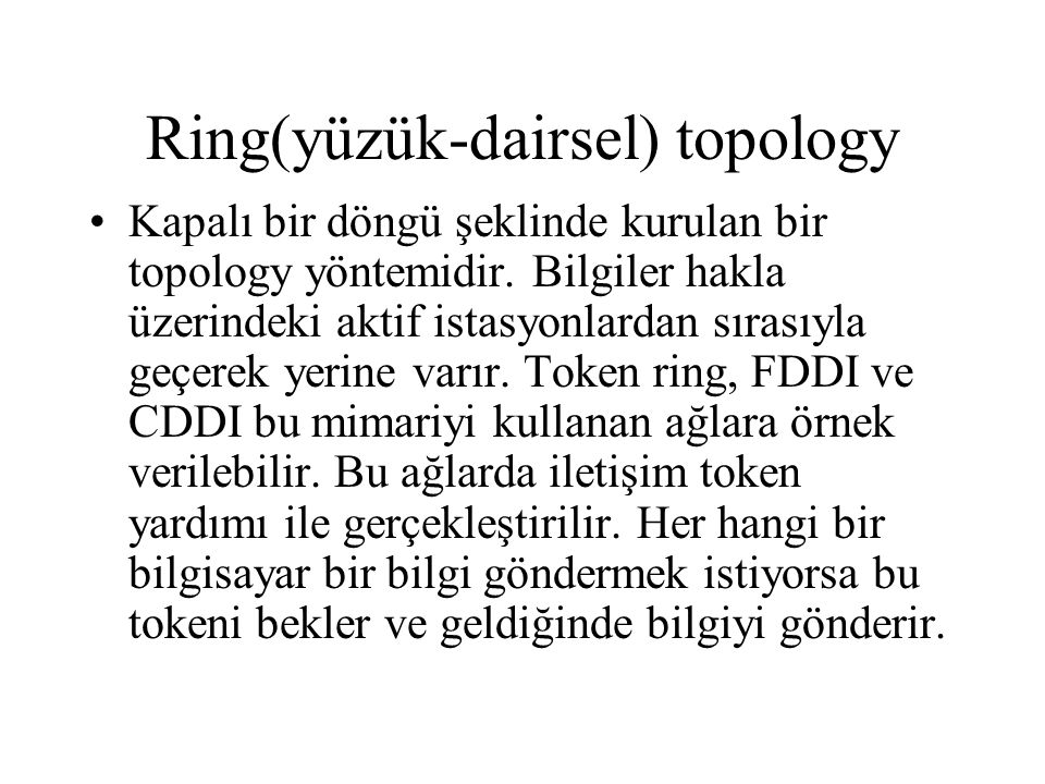 Ring(yüzük-dairsel) topology