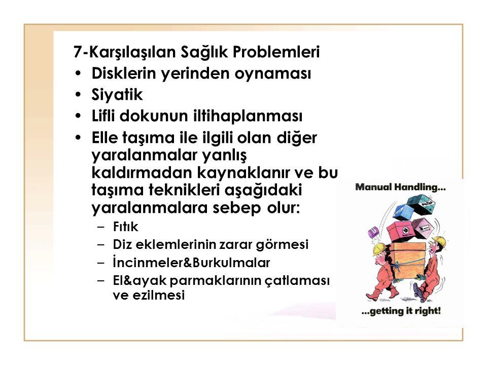 7-Karşılaşılan Sağlık Problemleri Disklerin yerinden oynaması Siyatik